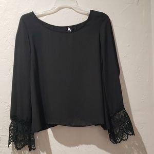 Black split back blouse